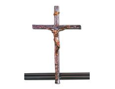 Cruz parroquial de fundición con varal
