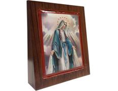 Cuadro de la Virgen Milagrosa en cuña de madera