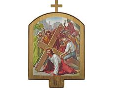 Vía Crucis de madera | 15 estaciones dorado