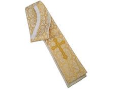 Estola fabricada en brocado oro y crema