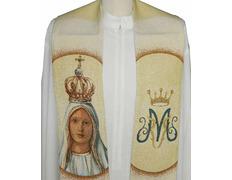 Estola mariana con Nuestra Señora de Fátima bordada