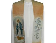 Estola mariana con la Virgen Milagrosa bordada