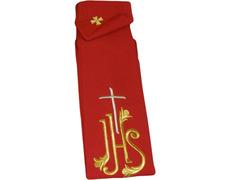 Estola con JHS y Cruz bordada rojo