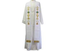 Estolón con bordados litúrgicos y fleco dorado blanco