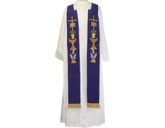 Estolón con bordados litúrgicos y fleco dorado morado