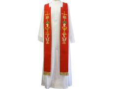 Estolón con bordados litúrgicos y fleco dorado rojo