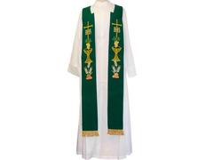 Estolón con bordados litúrgicos y fleco dorado verde