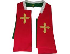 Estola reversible con Cruz bordada - Cuatro colores litúrgicos rojo / verde