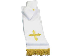 Estola con Cruces y fleco dorado blanco