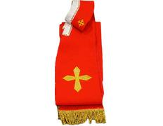 Estola con Cruces y fleco dorado rojo