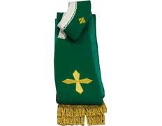 Estola con Cruces y fleco dorado verde