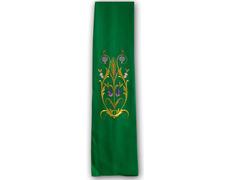 Estolón con diversos motivos litúrgicos bordados blanco