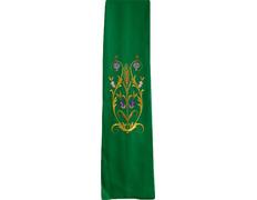 Estolón con diversos motivos litúrgicos bordados verde