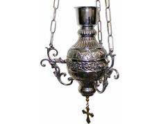 Lámpara para colgar con vaso rojo plateado