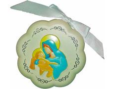 Medalla de cuna - Virgen con Niño Jesús blanco