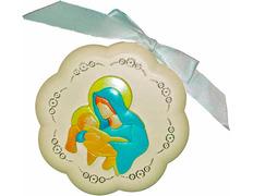 Medalla de cuna - Virgen con Niño Jesús crema