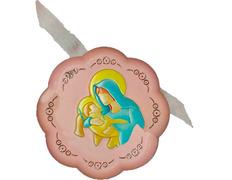 Medalla de cuna - Virgen con Niño Jesús rosa