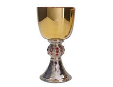 Cáliz pequeño o minicáliz fabricado en metal bicolor rojo