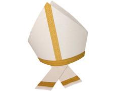 Mitra de tisú blanco con hilo dorado y galón color oro