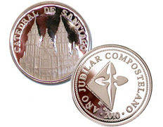 Moneda de plata recuerdo de la Catedral de Santiago