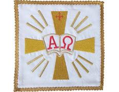 Palia bordado Alfa y Omega | Conjuntos de Altar blanco