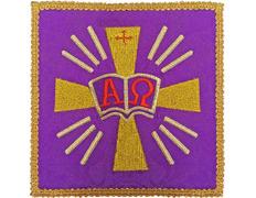Palia bordado Alfa y Omega | Conjuntos de Altar morado