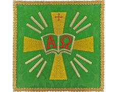 Palia bordado Alfa y Omega | Conjuntos de Altar verde
