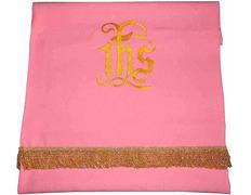 Paño cubre atril con JHS bordado rosa