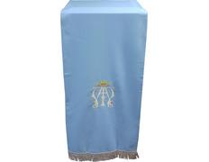 Paño de atril celeste con insignia mariana