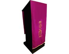 Paño de atril con JHS y otros bordados litúrgicos morado