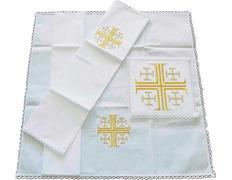 Conjunto de altar con Cruz de Jerusalén bordada
