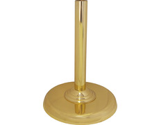 Porta Cruz parroquial de metal con pie liso dorado
