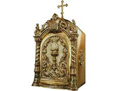 Sagrario con puerta grabada con elementos litúrgicos