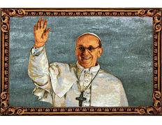 Tapiz del Papa Francisco saludando