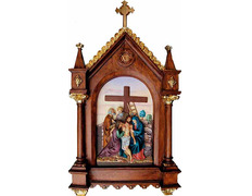 Vía Crucis de pasta madera policromado