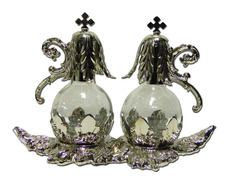 Vinajeras de cristal con tapón y bandeja de metal plateado