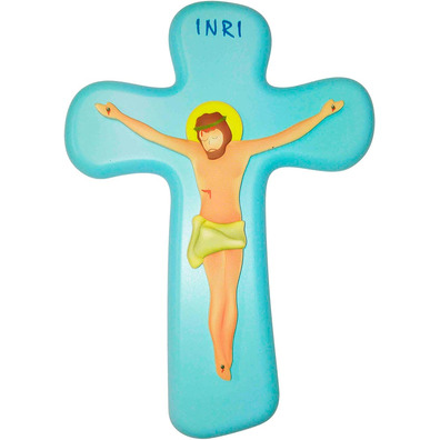 Crucifijo de pared infantil azul