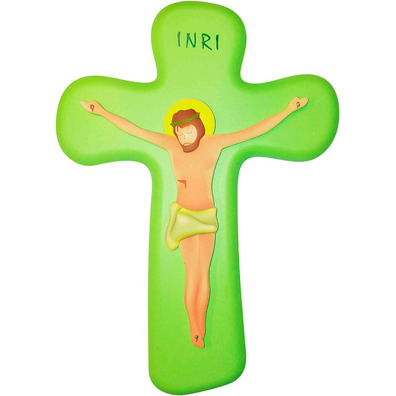 Crucifijo de pared infantil verde