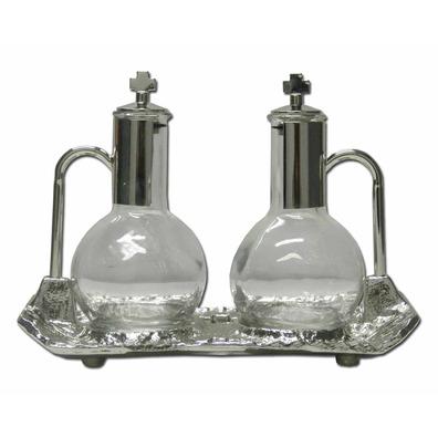 Vinagreras de cristal y metal niquelado con bandeja - Pegar cristal y metal ...