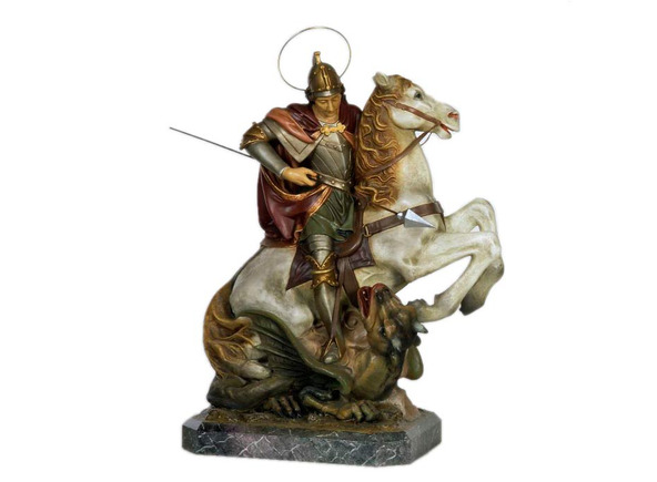 San Jorge a caballo lucha con el dragón