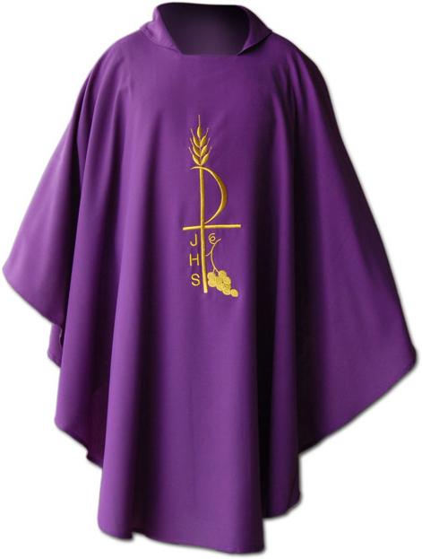 60d77785e78 Casulla en los cuatro colores litúrgicos con estola a juego rojo