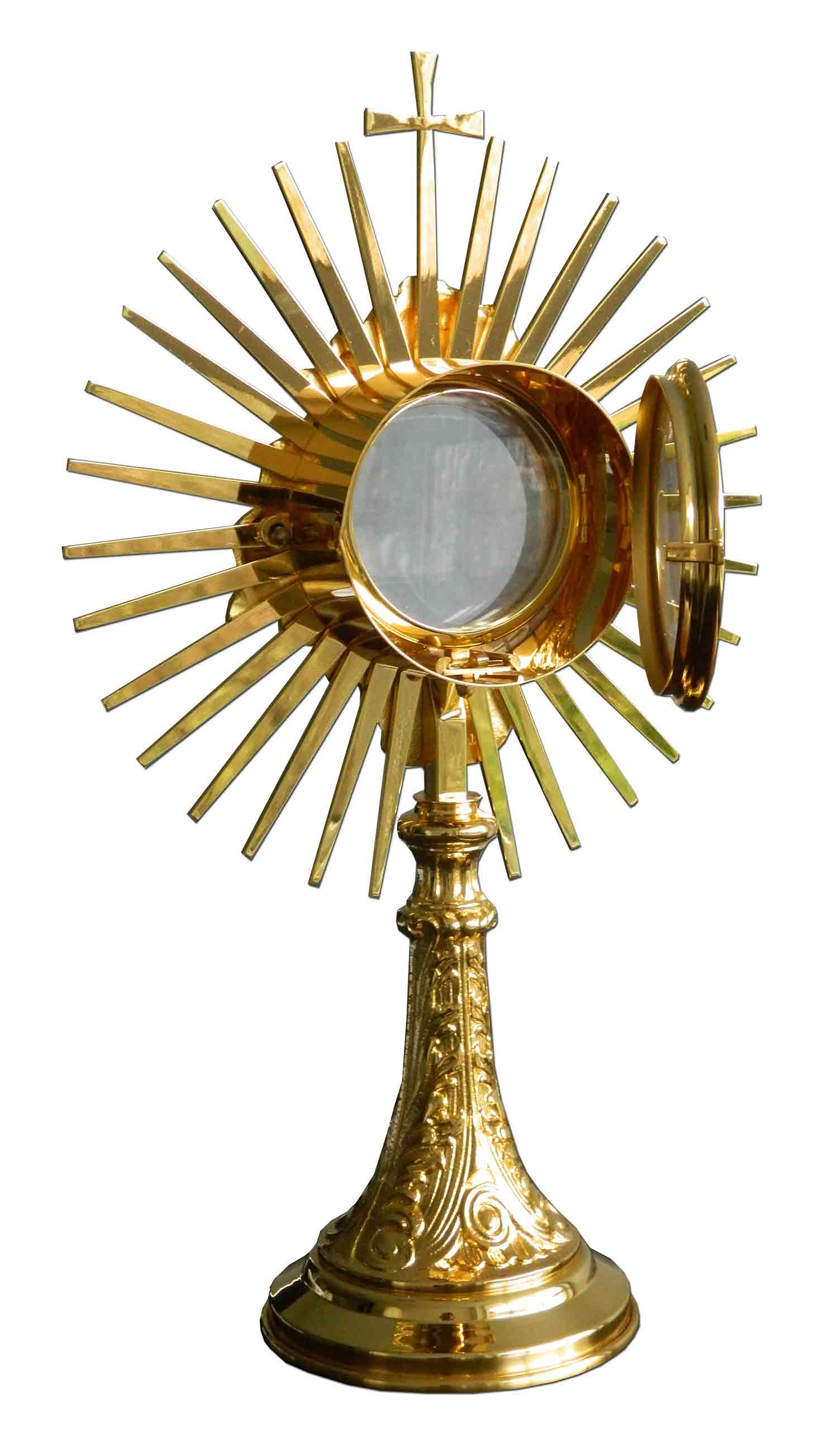 c6b40b44417 Custodia del Santísiomo en metal dorado con rayos y Cruz