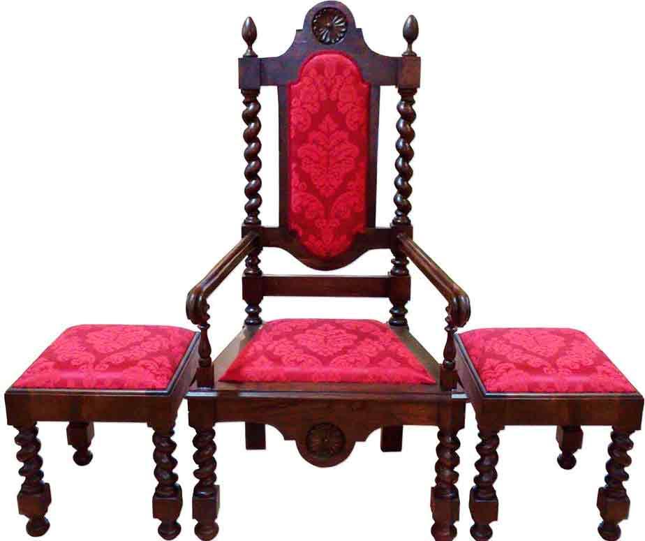 Juego de sillas de casta o con tapizado damasco for Tapizado de sillas